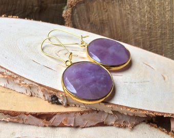 Earrings Amethyst Gold round purple violet gemstone earrings