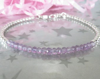 Pink Amethyst Stacking Bracelet. Personalized Hand Stamped Initial Heart Charm. Sterling Silver Bead Genuine Gemstone Jewelry.