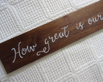 Reclaimed Wood Wall Art How Great Is Our God! Christian WORD Art, Wall Art, Hymn Art - Reclaimed Wood