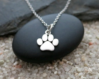Paw Print Necklace, Sterling Silver Paw Print Charm, Pet Jewelry