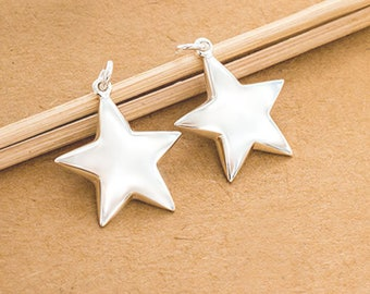 2 of 925 Sterling Silver Star Pendants 18mm ., Polished Finish. :th2133
