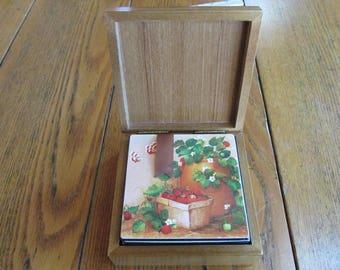 Vintage Set of Coasters in Wood Case