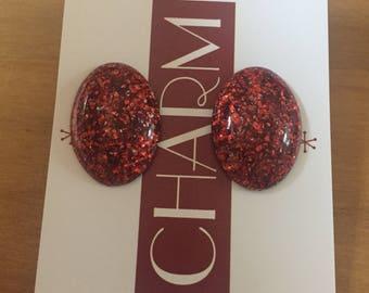 Vintage Inspired Red Glitter Handmade Stud Earrings.