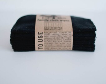 Baby Cloth Wipes - Reusable Baby Cloth Diaper Wipes - 10 Solid Set of  Wipes - Solid Black