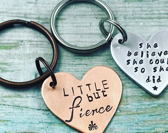 Hand Stamped Personalized Heart Keychain, Custom Quote Key Ring, She Believed She Could So She Did Key Chain, Little But Fierce Keychain
