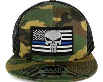 Punisher Thin Blue American Flag Embroidered Patch Camo Flat Bill Snapback Mesh Cap (153-1120-USA-FLAG-60)