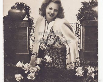 Beautiful Woman on Balcony with Roses, 1940s retro vintage glamour photo postcard