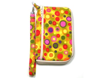 iPod Case, iPhone Cell Phone Case, Smartphone Phone, Wristlet, Pink Orange Purple Green Circles on Avocado Green