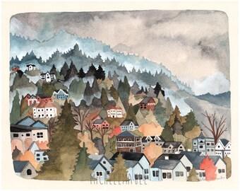 Art - Art Print - Northwest Art - Watercolor Print - Northwest Hills - 8x10 Art Print - Landscape Art - Portland Art - West Hills