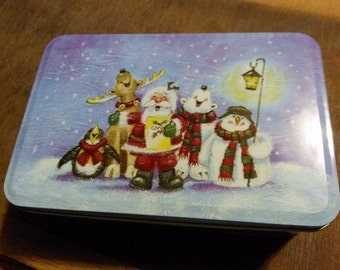 Christmas Tin Can / Holiday Tin Can / Christmas Gift / Snowman / Santa / Holidays / Christmastime / Winter Wonderland / Reindeer /Polar Bear