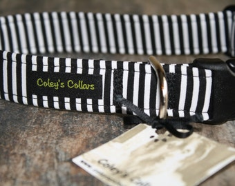 "Black and White Striped Dog Collar, Boy Dog Collar, Male Dog Collar, Girl Dog Collar, Dog Collars, Modern Dog Collar, ""The Walter"""