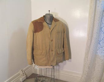 Vintage 50s Canvas Cruiser Jacket American Field Hettrick Co USA Khaki Cotton vintage Hunting Jacket Distressed classic brown Khaki jacket L