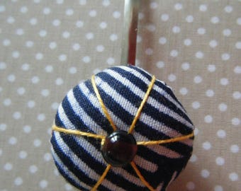 Japanese flower Navy blue white striped hair bow