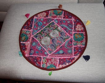 Plum and round patchwork cushion cover, old embroidery