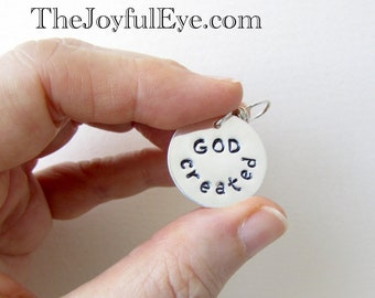 GOD created.  Inspirational Christian hand stamped charm in fine silver.  Creationist jewelry.  Christian necklace.