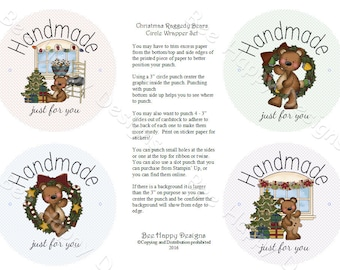 """PDF Printable """"Christmas Raggedy Bears"""" Circle Wrapper/Label Set - with background graphic"""