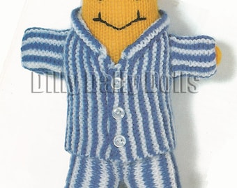 Banana in Pyjamas (30cm tall) and Baby Teddy Bear (10cm tall) Toy Knitting/crochet Pattern made in 8ply/Double Knit (DK) yarn