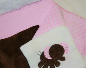 "Appliqued Minky Baby Blanket Kit ""Pretty In Pink Adorable Elephant"""