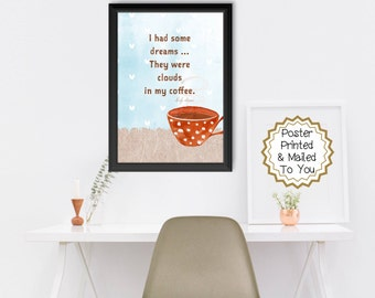 Coffee Cup Quote. 1970's. Rock Music. Mailed To You. Polka Dot. Wall Art Decor. Kitchen. Barista. Cafe. Latte.