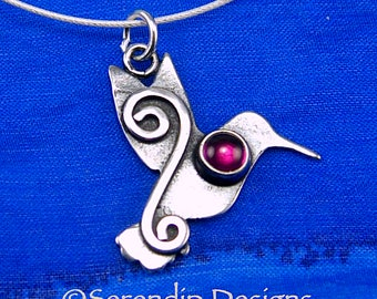 Sterling Silver Hummingbird Pendant with Ruby and Mystic Spirals, Shiny Silver Synthetic Ruby Hummingbird Necklace, July Birthstone