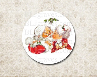 Christmas Stickers, Santa Mrs Clause Party Favor Stickers, Treat Bag Stickers CS003