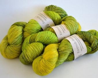 Hand dyed yarn pick your base - Wasabi - sw merino cashmere nylon fingering dk worsted