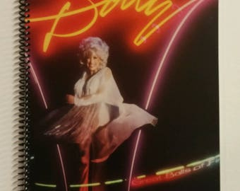 """Dolly Parton Spiral Notebook Hand Made from Recycled Vinyl Record Album Cover """"Great Balls of Fire"""""""