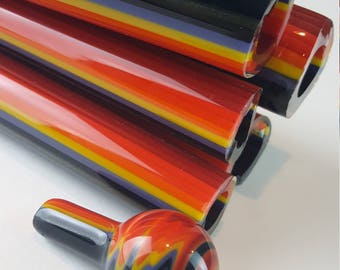 "Vac Stack - ""Tribal Fire 50/50"" - Colored Borosilicate Glass - Lined Tubing"