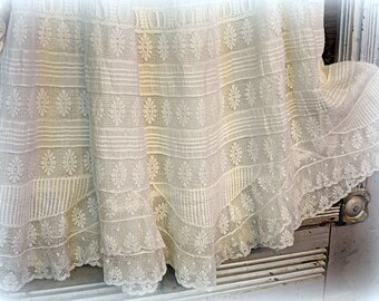 "petticoat junction antique victorian edwardian era petticoat with fine lace inserts and dozens of tiny tucks white on white 31"" long"