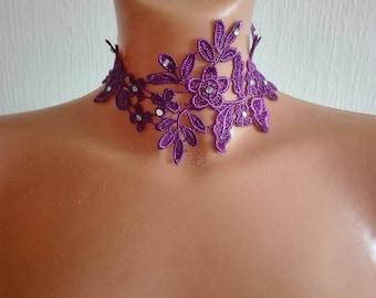 Purple lace necklace, rhinestone bridal wedding party