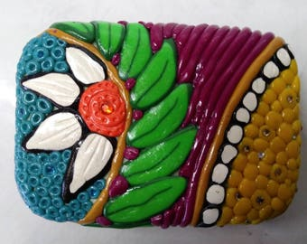 Hand made polymer clay trinket box, covered tin, bright colours, flower