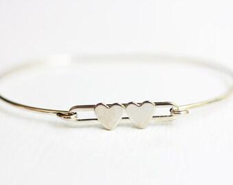 Silver Double Heart Bracelet