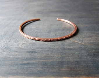 Shiny Copper Cuff Bracelet, Graved Copper Cuff Bracelet, Skinny Copper Bracelet