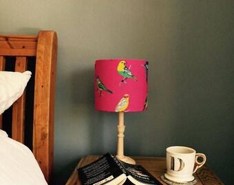 Delightful Bright Bird Print Drum Lampshade