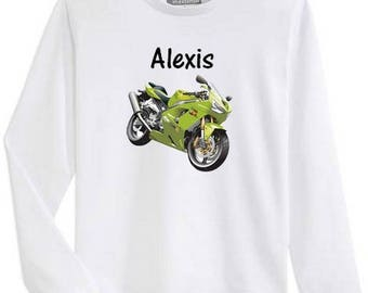 T-shirt boy long sleeve bike personalized with name