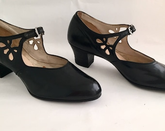 Vintage Antique 1920s Star Brand Shoes Women's Black Leather Mary Jane Pumps 6 N Deadstock