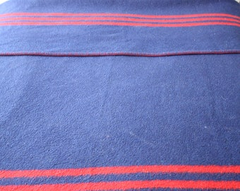 Navy Blue Felted Wool Vintage Double Bed Picnic Blanket, Red Contrast Stripes