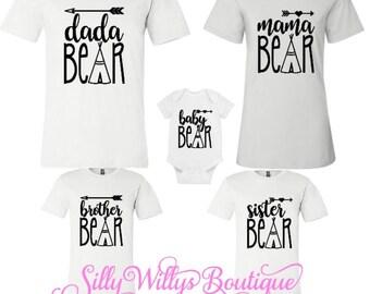 Mama bear shirt, Family matching shirts, Family shirt set, Baby bear shirt, Dada bear shirt, Brother bear shirt, Sister bear shirt,