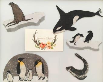 magnet animals animals Orca marine seal penguins fabric fridge magnet kit