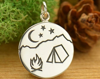 Sterling Silver Outdoor Rustic Camping Charm featuring campfire tent and starry sky