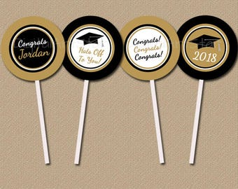 Personalized Graduation Cupcake Toppers, Graduation Cupcake Picks, Gold and Black Graduation Party Printables, Class of 2018 Decorations G2