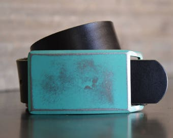 Aqua FOUNDATION SET Belt Buckle & Leather Belt by Fosterweld