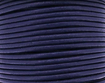 Leather thong 2 mm round purple sold by 20 cm