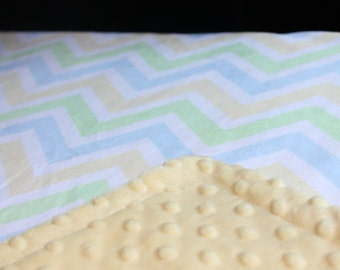 Minky Blanket Light Blue, Yellow, Baby Green and White Chevron Print Minky with Yellow or Green Dimple Dot Minky Backing - Baby Toddler size