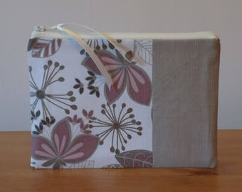 Beautiful Quality Contemporary Neutrals Floral Fabric Storage Pouch, Make Up Case Bag, Zipper Pouch, Cosmetics Purse, Lined, Handmade