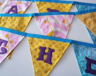 Happy Birthday Fabric Banner - Lavender, Gold and Bright Blue with Purple Lettering