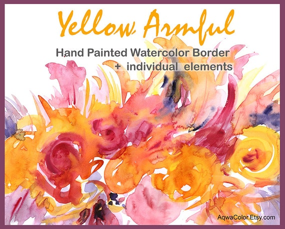 Watercolor Border Clipart Yellow Armful