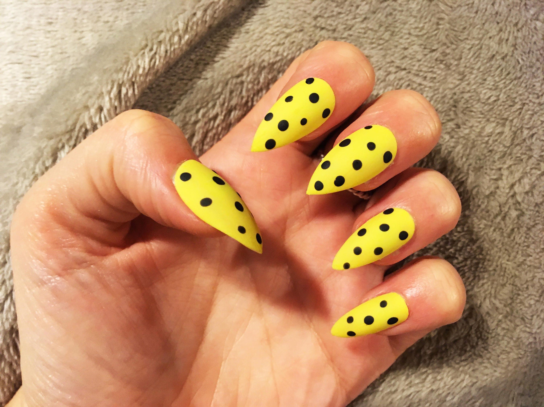 Yellow and Black Polka Dot False Nails, Cute Nail Art, Stiletto Fake ...