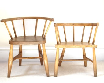Incredibly Charming Mismatched Pair Antique Children's Chairs