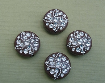 8-Vintage Etched Mosaic Brown and Silver Flat Round Beads 15mmx7mm.